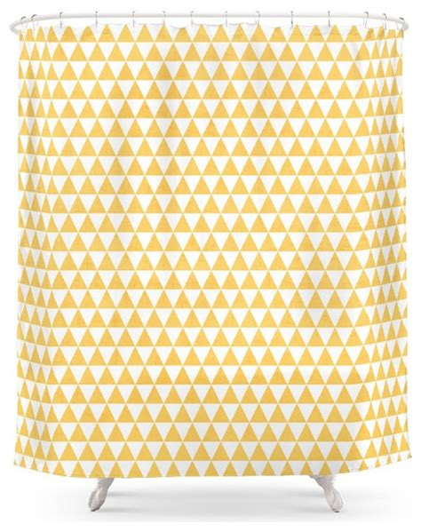 Scandinavian Shower Curtain by Society6 Triangles Yellow And White Shower Curtain