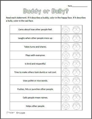 Free Printable Buddy Or Bully Worksheet Weareteachers Buddy Checklist Template