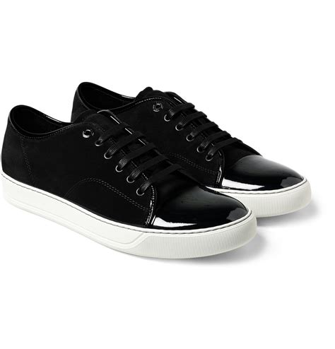 black mens sneakers lanvin men s black suede and patent leather sneakers