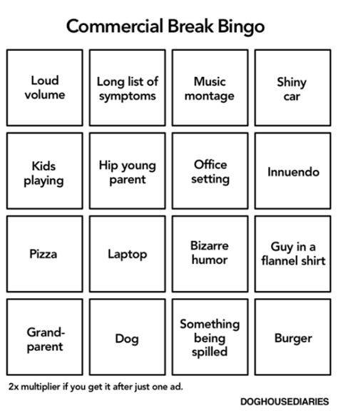 dog house diaries tastefully offensive on tumblr tv commercial bingo by doghouse diaries