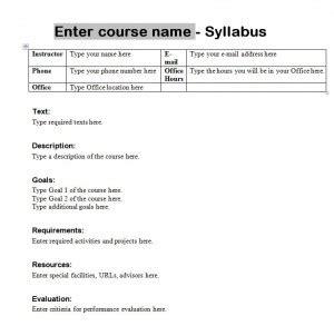 syllabus template  syllabus template