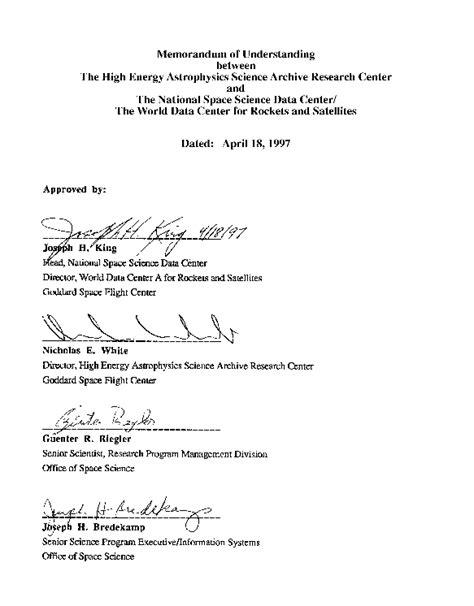 signature page template heasarc nssdc memorandum of understanding