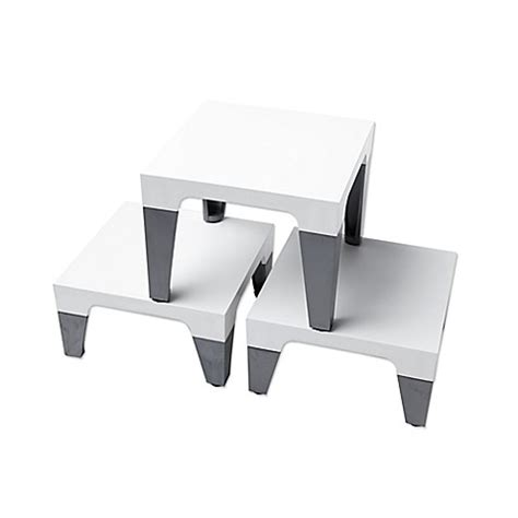 bed risers bed bath and beyond sterling risers 174 modern tabletop designs in white silver