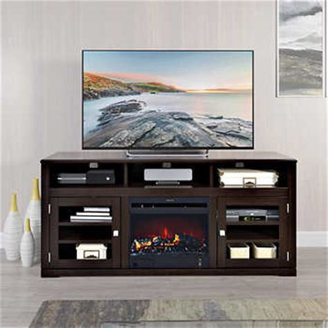 mink black 60 in television stand with electric fireplace