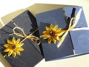 Sunflower and navy blue wedding invitation by zannapaper on etsy