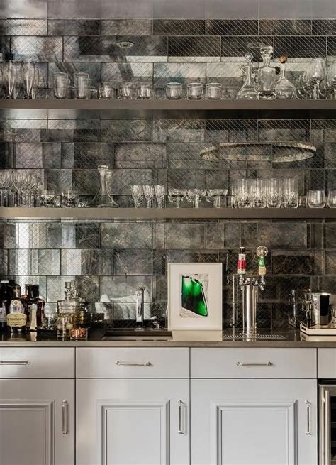 antiqued mirrored tile for kitchen back splashes and