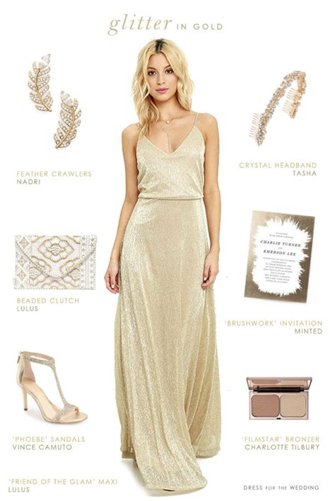 Gold Maxy gold maxi dress for bridesmaids or wedding guests