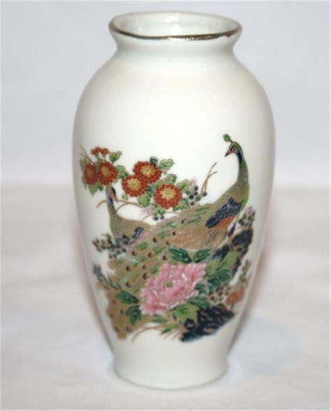 Japanese Peacock Vase by Vintage Arnart Import Japanese Ceramic Peacock Mini