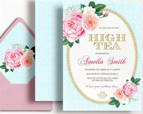 33 Party Invitation Templates Download Downloadcloud Tea Birthday Invitation Template