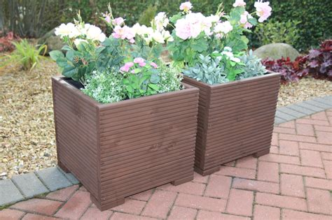 Large Brown Planters Brown 44cm Square X2 Large Wooden Garden Planter Trough