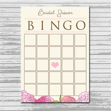 bridal shower bingo template bridal shower bingo card instant printable blank
