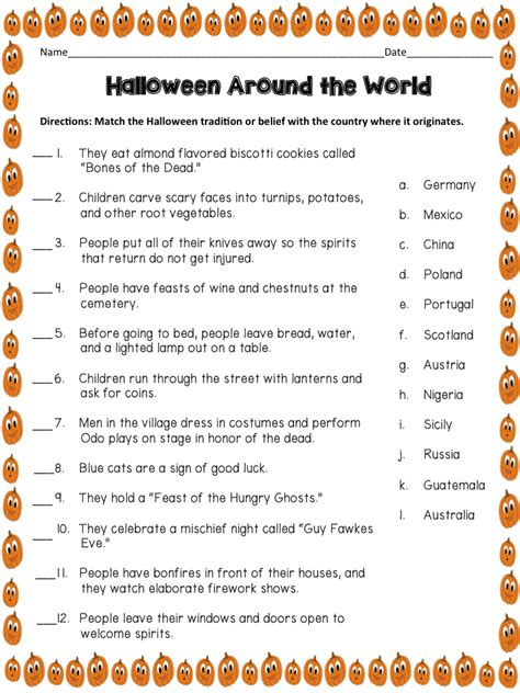 halloween themed quiz questions halloween around the world more than a worksheet