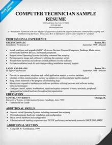 Resume Sle For Computer Technician by Computer Technician Computer Technician Sle Resume