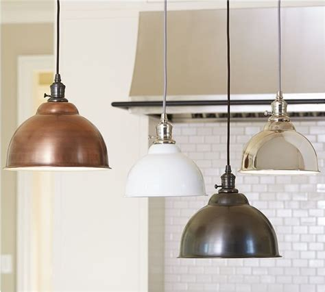 pottery barn kitchen lighting pb classic pendant metal bell copper finish industrial