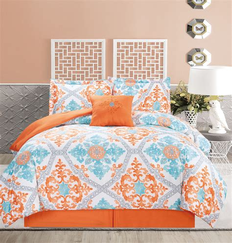 teal and orange bedding 5 piece regal orange blue white comforter set ebay