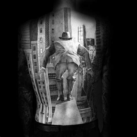 Back Tattoo Man Jumping Off Building | 90 building tattoos for men architecture ink design ideas