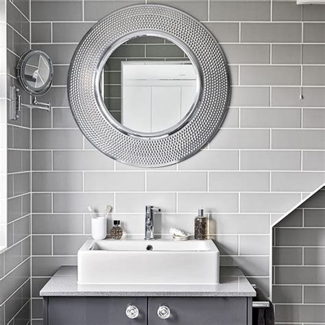 round mirror bathroom modern grey bathroom with round mirrors housetohome co uk