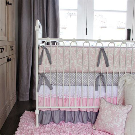 Pink White Lace Damask Ruffle Crib Bedding Set By Caden Lane Damask Crib Bedding Sets