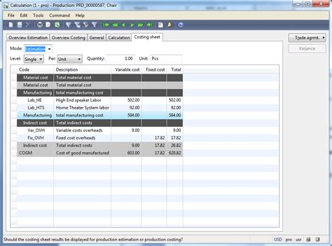 Routes And Operations Dynamics Ax Training Manufacturing Cost Calculation Template