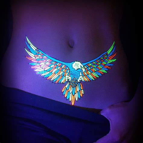 fluorescent tattoo temporary animals uv fluorescent fluo eagles