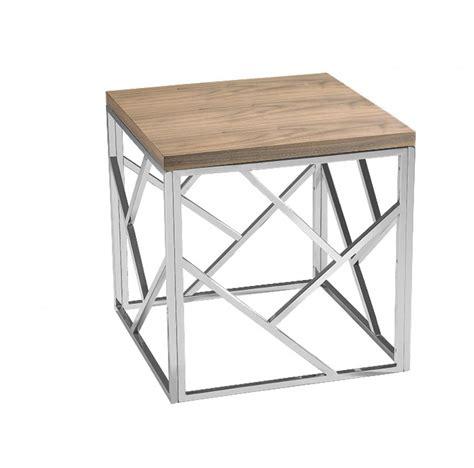 aero chrome wood side table modern furniture brickell