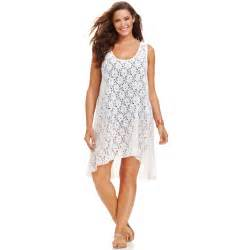 gottex plus size lace highlow dress cover up in white lyst