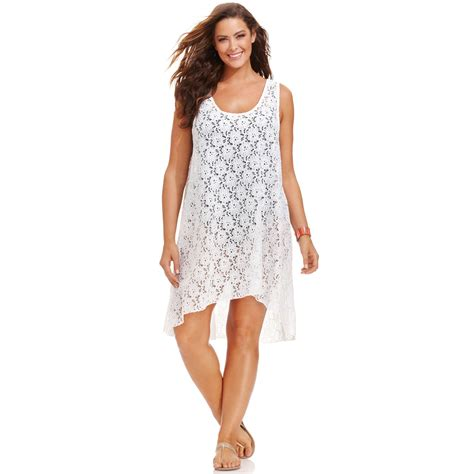 dress cover up gottex plus size lace highlow dress cover up in white lyst