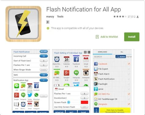 call flash light app how to use led flash as notification light on android or