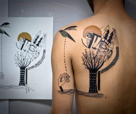 bored panda tattoo cubism surre 225 lne tetovania vznikaj 250 na z 225 klade skutočn 253 ch