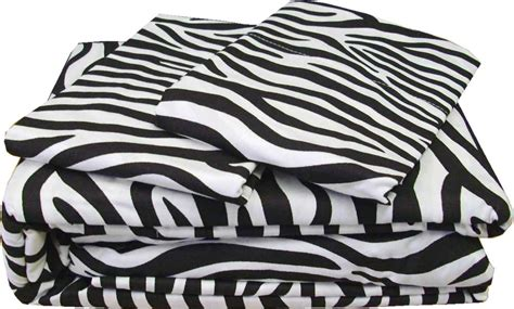 Zebra Stripe Bedding Set 4pc Zebra Stripe Sheet Set Safari Animal Print Bedding Bed Decor Ebay