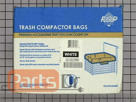 w10165294rb whirlpool 15 quot trash compactor bags 60 pack parts dr