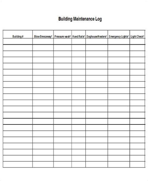 100 maintenance log sheet template ms word u0026