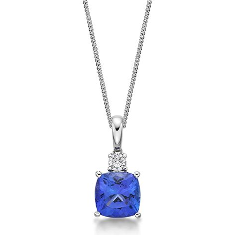 2 10 ct cushion cut tanzanite pendant richland