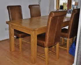 Chunky Dining Table And Chairs Chunky Oak Extending Dining Table And 4 Halo Real Leather Dining Chairs In Marlow