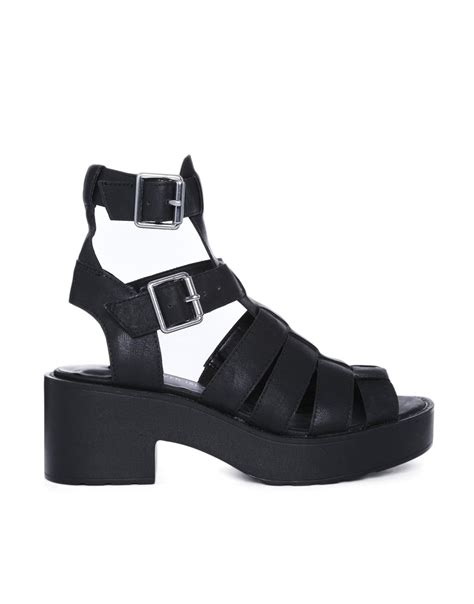 black chunky gladiator sandals river island black chunky low heeled gladiator sandals in