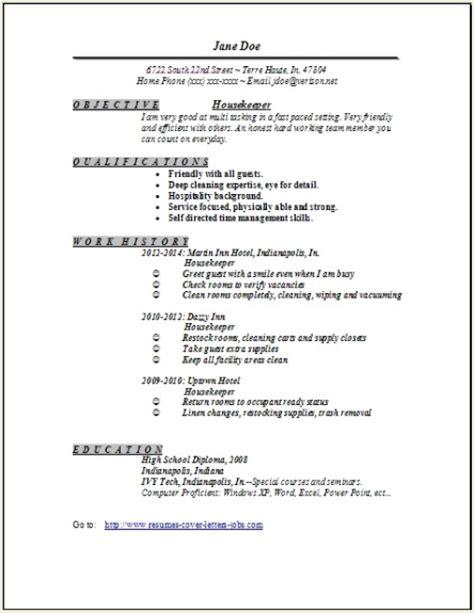 Sample Cover Letter: Housekeeping Job Resume Sample