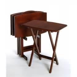 five furniture curved rectangular 5 tv tray set in antique walnut