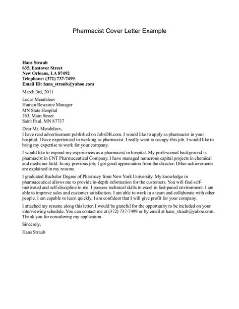 Traveling Pharmacist Cover Letter by Sle Cover Letter Pharmacist Sle Cover Letters