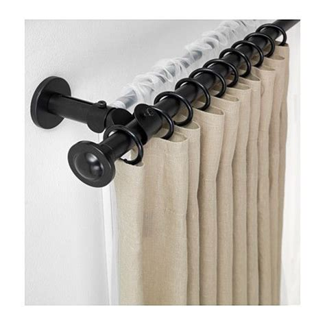 double drapery rod set storslagen double curtain rod set black double curtain
