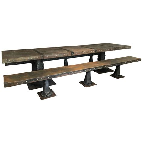 banquet benches substantial industrial steel banquet table and benches for sale at 1stdibs