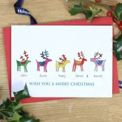 personalised rainbow reindeer family cards by this is nessie notonthehighstreet