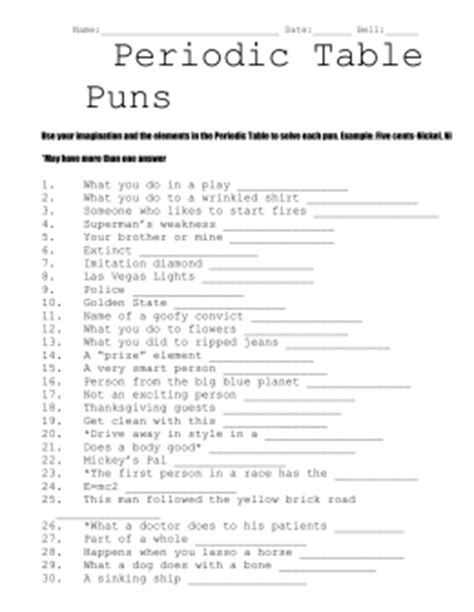 Chemistry Puns Worksheet