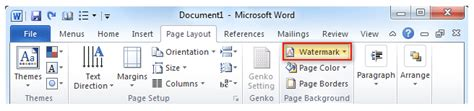 word layout tab where is the watermark command in microsoft word 2007 and 2010