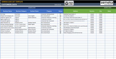 excel template contact list lead list excel template for small business free