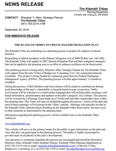 press news mitigation news release klamath tribes news and events