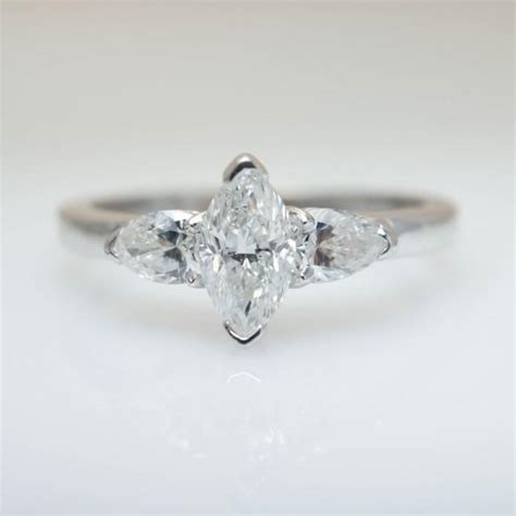 vintage dainty marquise and pear cut 3 engagement