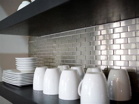 metal backsplashes for kitchens metal tile backsplashes pictures ideas tips from hgtv