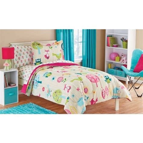 twin bedding owl life white pink green and blue bird cute kids twin