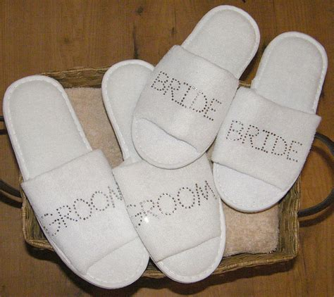 personalised slippers groom slippers set personalised rhinestone spa