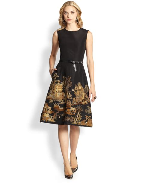 Embroidered Cocktail Dress lyst oscar de la renta embroidered cocktail dress in black